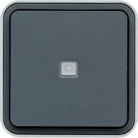 Image Cubyko poussoir 1o/1f à voyant saillie gris ip55