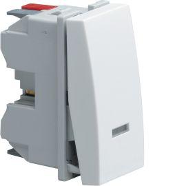 Image Systo poussoir inverseur 1o+1f à voyant 10a 1 module blanc